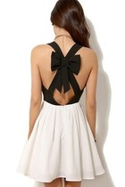 *free ship* black and white backless bow mini dress sleeveless