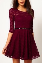 *free ship* long sleeves lace skater dress - red - 16855