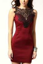 free shipping red women bodycon lace Embroidered mini dress club party