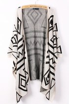 *free ship* oversized aztec geometry print knitted cardigan - white -16270