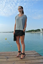 silver Zara shirt - black Zara shorts