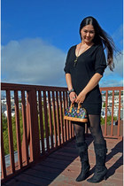 black Louis Vuitton purse - black Steve Madden boots - black Forever21 dress