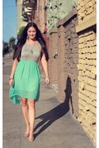 aquamarine mint Le Tote dress - tan nude Payless heels