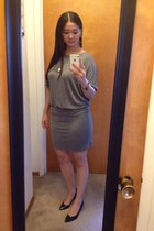 heather gray Max Azria dress - black Payless shoes