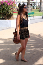 vintage necklace - Urban Outfitters bag - Forever21 shorts - H&M top