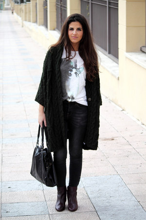 pull&amp;bear jeans - Massimo Dutti boots - Zara bag - Zara cardigan