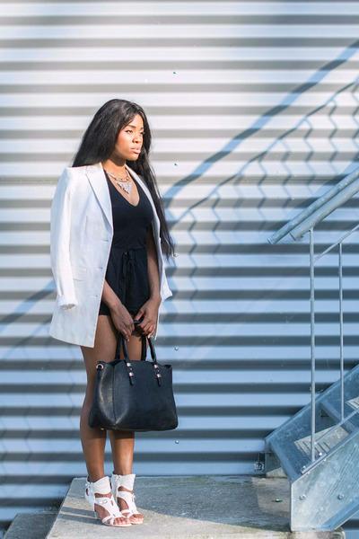 white classy Sheinsidecom blazer - black faux leather Yooxcom bag