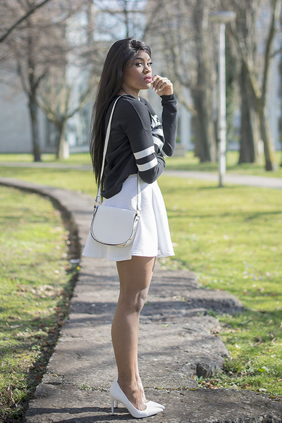 white H&M bag - dark gray Tally Weijl sweater - ivory H&M skirt