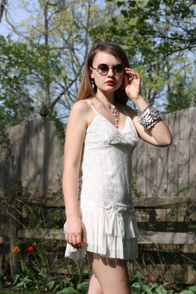 silver Hark necklace - ivory The Dress Shop dress - silver Hark bracelet