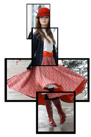 ruby red Wallflower Vintage skirt - navy Wallflower Vintage sweater - ruby red b