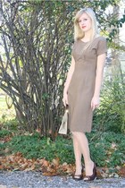 dark brown thrifted shoes - tan Wallflower Vintage dress - neutral Wallflower Vi