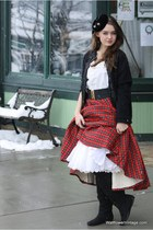 black Wallflower Vintage cardigan - brick red Wallflower Vintage skirt - white W