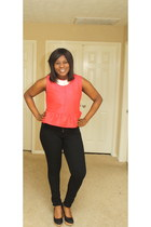 red peplum top Topshop top - black skinny H&M jeans - silver H&M necklace