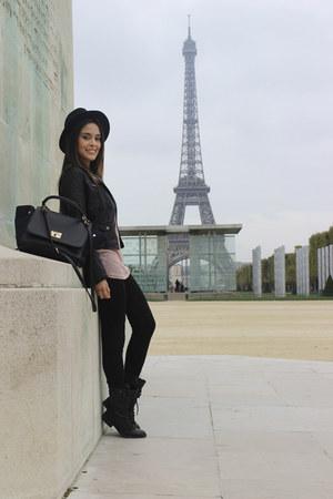 vintage boots - Forever 21 hat - H&M jacket - Forever 21 bag - vintage blouse
