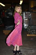 black Forever 21 heels - pink Vintage by We Move Vintage dress