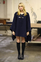 navy Vintage by We Move Vintage coat - black H&M socks - black DSW shoes