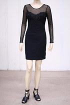 black fitted sheer vintage dress