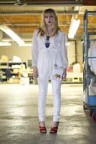 white Forever 21 jeans - white mesh Vintage by We Move Vintage jacket - white vi