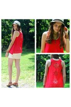 gold jewel mint necklace - eggshell Target hat - red Marshalls top