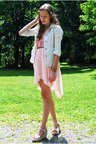 pink romwe top - cream Macys blazer - light pink high-low The Phrenzy skirt