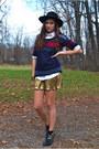 Black-gold-buckle-target-boots-gold-matte-shiny-forever-21-dress