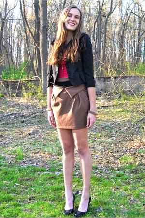 black Ruttish Co blazer - hot pink tank hollister top - camel Sheinside skirt