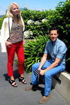 blue Club Monaco pants - ruby red Zara pants - white banana republic blazer