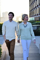 cream H&M sweater - ivory banana republic sweater - white J Crew jeans