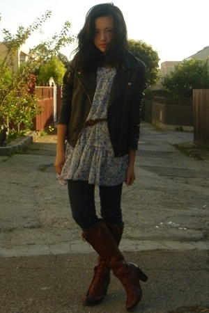 Pimkie dress - Urban Outfitters jacket - Frye shoes - Ninas jeans
