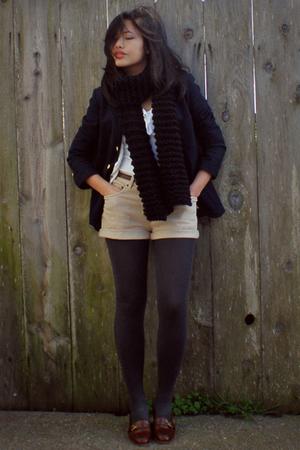 Ralph Lauren blazer - etienne aigner shoes - hand knit scarf