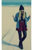 Levis jacket - creepers shoes - Vintafe sunglasses - Topshop t-shirt