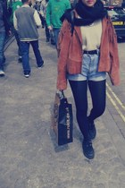vintage jacket - creepers shoes - H&M sweater - Primark bag - vintage shorts