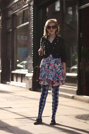 blue Wolford tights - bubble gum H&M dress - black military H&M jacket