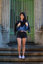 diy thrifted shorts - montaffair top