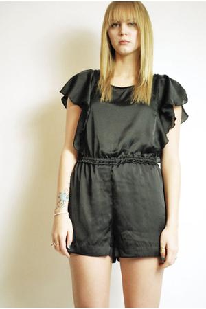 black 80s origami romper shorts