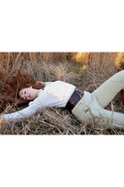 nude Express Tricot pants - brown etienne aigner boots - ivory Josephine blouse