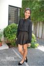 Black-chiffon-studded-forever-21-blouse-skater-skirt