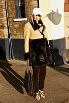 tawny faux fur Juicy Couture coat - white H&M hat - tawny Alexander Wang heels