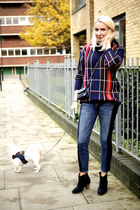 navy wool Pul and Bear sweater - black leather Isabel Marant boots