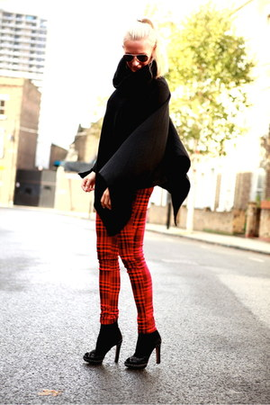 black cashmere Ralph Lauren cape - red vintage pants - black Prada heels