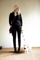 white FWSS hat - dark gray cashmere Isabel Marant sweater - maroon Mulberry bag