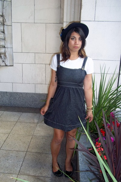 navy denim Target dress - black Target hat - black moccasins BP flats