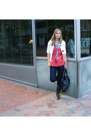 brown boots - orange H&amp;M top - beige Zara jacket - black H&amp;M purse