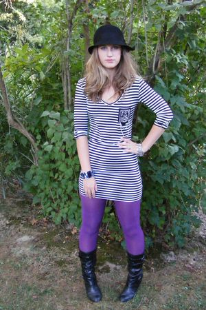 black Macys dress - purple Forever 21 tights - black payless boots - black Forev