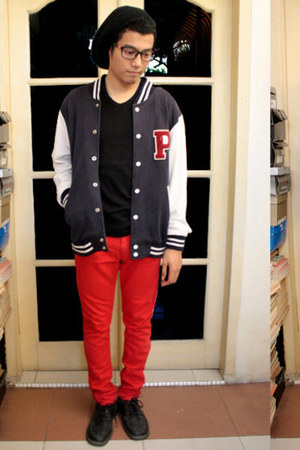 black shoes - black beanie hat - navy varsity jacket - black t-shirt - red pants