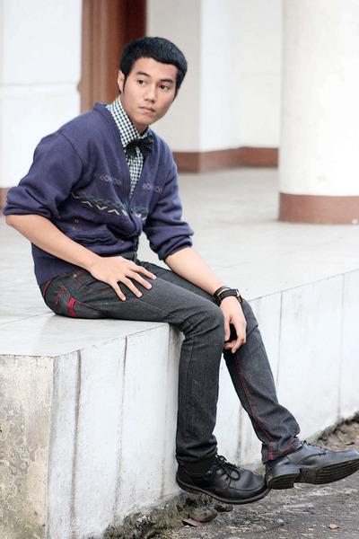 black shoes - dark gray jeans - checkered shirt - black bow tie