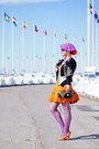Light-orange-fit-and-flare-dress-amethyst-beret-wool-hat-black-cotton-jacket
