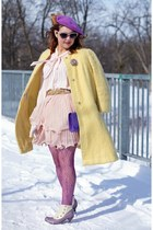 light yellow mohair vintage coat - light purple leather Fluevog boots