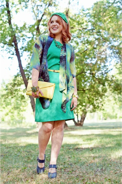 blue Sheinside cardigan - chartreuse sheath dress Jessica dress