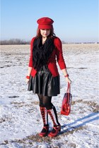 black lace up socks socks - red wool newsboy Juicy Couture hat